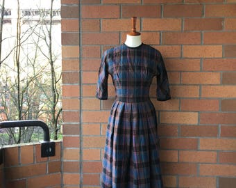 1950's Plaid Dress / party dress/ midcentury / tartan print / renoir new york