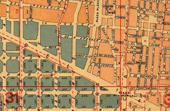 Barcelona map Old city plan Plano de Barcelona Historic