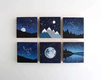 Nacht Himmel Malerei - 3 x 3 - Wählen Sie eine