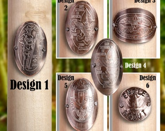 Boy Scout Walking Staff Medallion - 6 Styles Available -Made with Real U.S. Quarters - Come in Attractive Package - Fastening Nails Included
