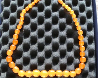 Vintage Baltic Amber necklace, caramel colour, Weight 69 gram, Length 49 cm - amber jewelry