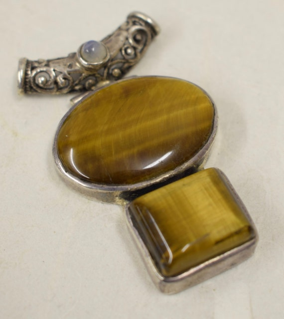 Pendant Sterling Silver Burmese Tiger Eye Moonstone Handmade Handcrafted Pendant Gift for Her Chain Slide Gift for Him Jewelry Necklace