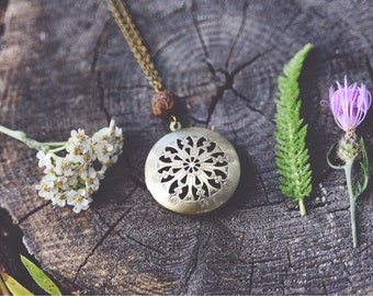 boho floral diffuser locket necklace with your choice of therapeutic grade essential oil
