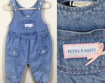 90s Baby Girl Peter Rabbit Embroidered Denim Overalls, Size 6 to 9 months