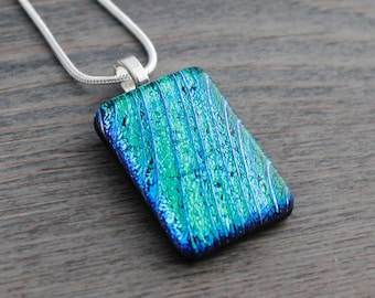 Teal-Green-Blue Dichroic Fused Glass Necklace; Ribbed Texture; Smooth Top; Fused Glass Necklace