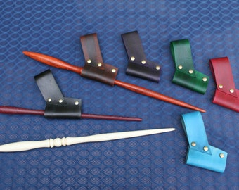 Leather Magic Wand Holster, Sheath, Carry Case, Belt Loop - 6 Colors