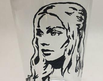 Daenerys Targaryen Hand Painted Beer/Pint Glass