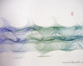 "Lotus Pond - Original Marbling Art, Marbled Paper, The Original ""Marbled Graphics""™ by Robert Wu"