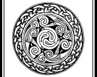 Swirling Celtic Circle Print