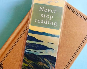 Never Stop Reading Bookmark, Travel Book mark, Hippie Bookmark, Outdoors Book Mark, Ireland Bookmark, Quote, Reading Gift, Unique Books