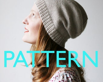Slouchy knit hat - beanie knitting PATTERN - Abbotts Harbour slouch