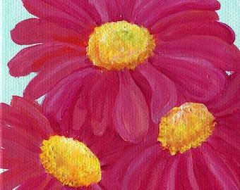 Daisy painting, pink Gerbera mini canvas, mini easel, aqua, mint,  flower art, small acrylic painting mini canvas art 4 x 4 SharonFosterArt