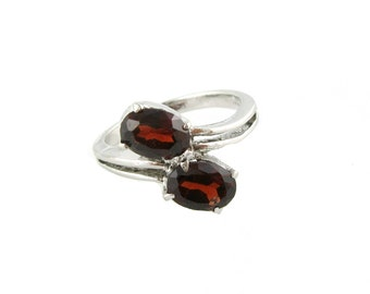 Vintage Garnet 2 Stone Ring