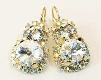 Crystal Clear Swarovski Bridal Drop Earrings White Crystal Statement Clear Earrings AB Dangle Halo Earrings,Swarovski rhinestones,Gold,GE104