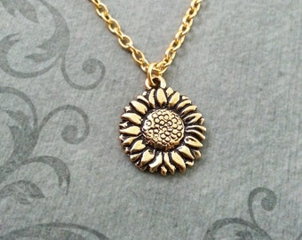 Sunflower Necklace SMALL Sunflower Jewelry Sunflower Pendant Gold Sunflower Charm Flower Necklace Bridesmaid Necklace Flower Girl Gift