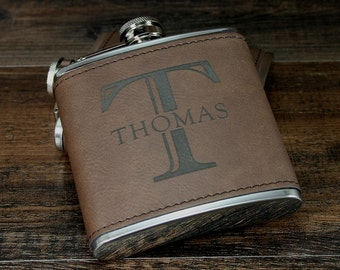 8 Personalized Groomsman Flasks, Engraved Flask, Customized Best Man Gift, Wedding Gift Ideas, Monogrammed Leather Flask, Flask for Men