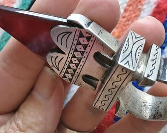 Large Tuareg SILVER Ring with Agate Telhakimt, Inner diam. 2 cm, US size: 10 1/2, Incl. Tuareg Leather Cord