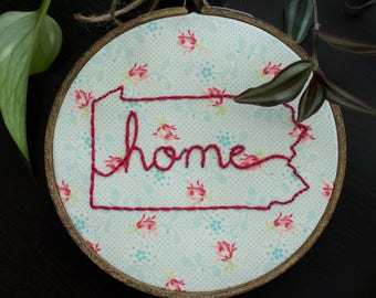 Home State Embroidery, Hoop Art, Wall Art, with Wooden Hoop