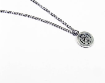 Owl Necklace Pendant - Layering Necklace With Circle Pendant - Bird Jewelry