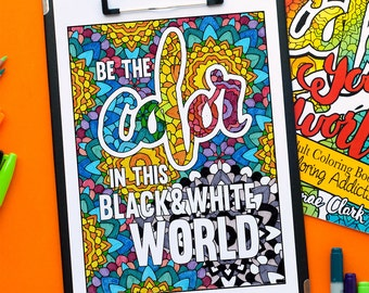 Adult Coloring Book | Color Your World: Quotes for Colorists - Printable PDF coloring book | digital download, 20 printable coloring pages