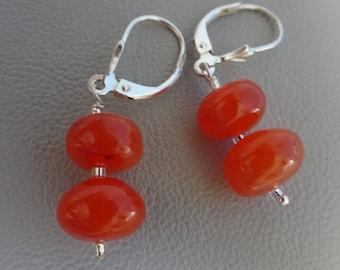 SALE!! 20% OFF!! silver earrings with gemstone Carnelian- dangling earrings - 925 sterling silver gift for girl woman