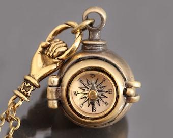 Secret Stash Necklace Compass Locket Necklace