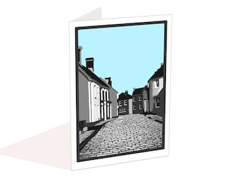 Vintage blank card, Retro cobbled street card, Write your own message, Notecard with envelope, Anniversary, Birthday card, Thank you card,
