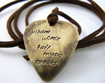 Valentine's Day Gift, Guitar Pick Necklace, Where Words Fail Music Speaks, Hand Stamped Necklace, Christmas Gift For Friend, Father's Day