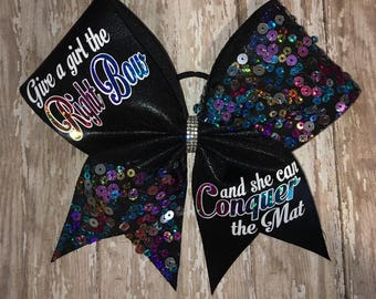 conquer the mat cheer bow