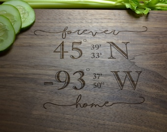 Personalized Coordinate Cutting Board, Great for a wedding gift, Housewarming Gift, Gift for New Homeowner, Longitude and Latitude