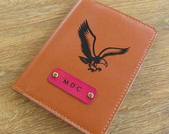 Tan leather passport cover custom engraved travel passport holder passport wallet ticket keeper for men and women