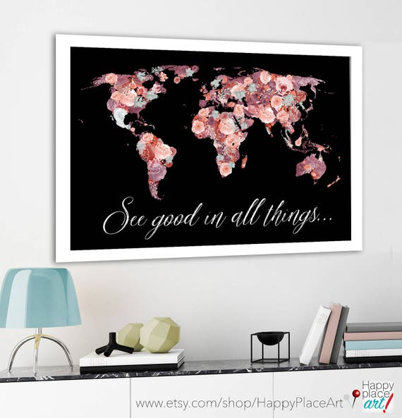 Pretty world map floral world map red and black print world te gusta este artculo gumiabroncs Gallery