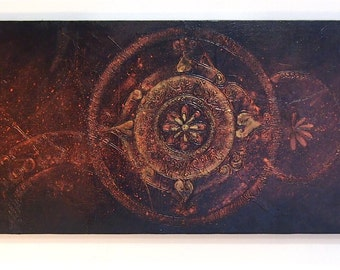 Universe - Long Slim Mandala Acrylic Original Texture Painting on Canvas  32.2 x 11.5 inch / Copper Gold Black / Eclectic Ethnic Wall Art