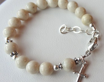 Sterling Silver Baby Boy Baptism Rosary Bracelet,  Christening Boy Bracelet, Boy Bracelet, Baptism Bracelet, Baby Girl Rosary Bracelet