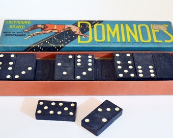 Vintage Boxed Set of Dominoes. Made by Greyhound - Complete