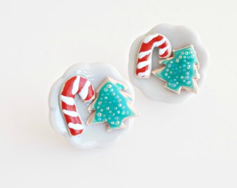 Mini Christmas Cookies plates - Stud Earrings, Christmas Miniature Cookies, Christmas Jewelry, Food Jewelry, Cookies Jewelry, Kawaii Jewelry
