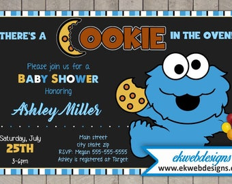 Cookie Monster Baby Shower Invitations- It's a Boy Baby Shower Invitations - Printable File