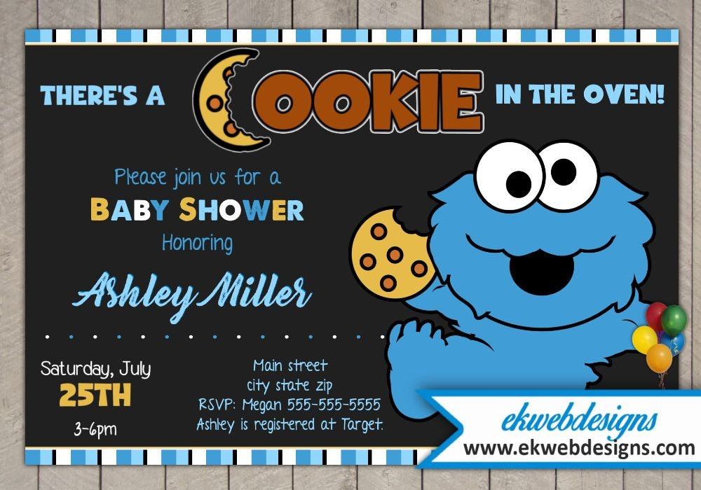 Cookie Monster Baby Shower Invitations It\'s a Boy Baby