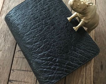 Black ostrich leather Bible cover