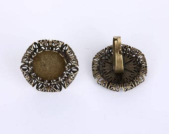 10 pcs Flower Adjustable Ring Settings Cabochon Cameo Rings Findings for Jewelry Making