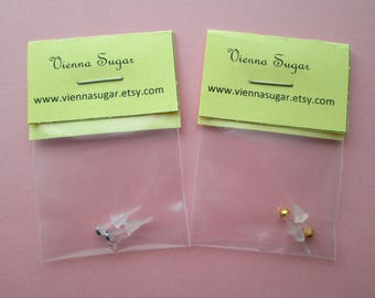 Tiny 3 mm Hypoallergenic Plastic Post Earrings with Metal Free Gold or Silver Half Ball Studs