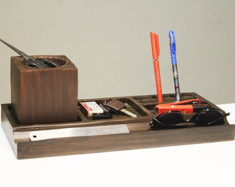 Office Wooden Desk Organizer Desk Accessories – For Use on Desktop|Table|Counter in Kitchen or Work Space