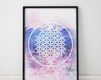 Sacred Geometry Art Spiritual Wall Art Yoga Poster Flower Of Life Wall Art Yoga Gifts Spiritual Gifts Spiritual Art Yoga Print Spirituality