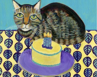 Another Birthday?!? Birthday art card featuring a tabby cat,  blank inside