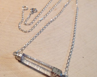 Quartz Bar Necklace with sterling chain