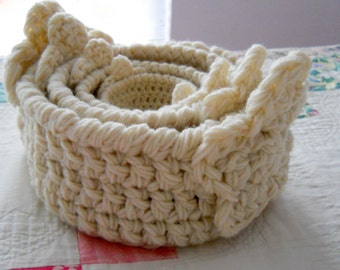 CROCHET PATTERN: The Flora Four Nesting Baskets, Gift Basket Pattern, Big Flower Baskets, Crochet Basket Pattern