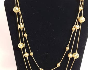 Vintage Gold Tone Ball Necklace