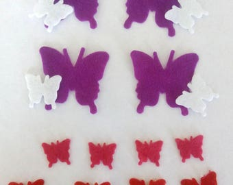 set of 16 stickers, sticker felt butterflies various sizes and colors