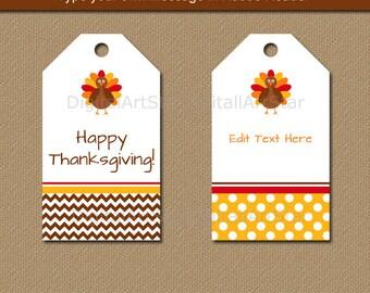 EDITABLE Thanksgiving Tags, Printable Thanksgiving Hang Tags Happy Thanksgiving Tags Thanksgiving Birthday Tags Turkey Chevron Polka Dots T4