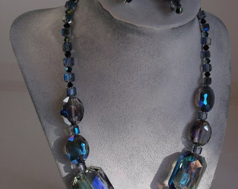 Irridized Crystal Necklace and Earrings